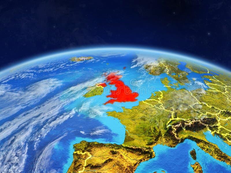 Förenade kungariket på jord från utrymme vektor illustrationer