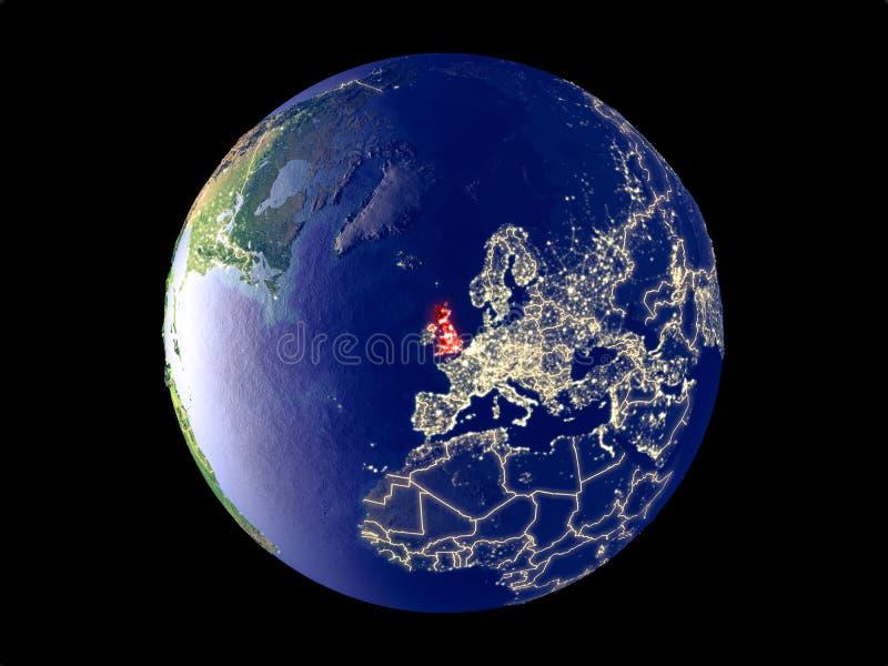 Förenade kungariket på jord från utrymme royaltyfria bilder