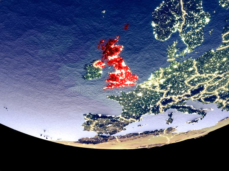 Förenade kungariket på natten från utrymme arkivbild