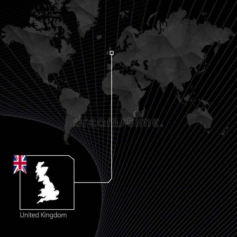 Förenade kungariket på svart världskarta Översikt och flagga av UK vektor illustrationer