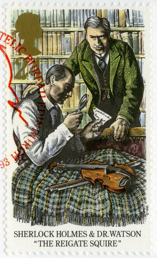 FÖRENADE KUNGARIKET - 1993: shower Sherlock Holmes och Dr Watson den Reigate patronen royaltyfri foto