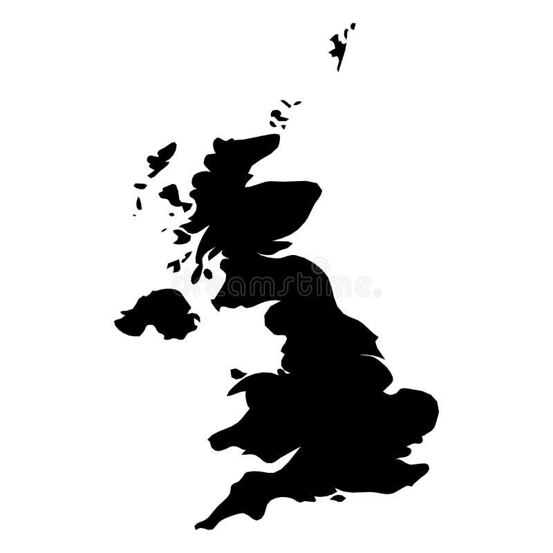 Förenade kungariket Storbritannien och Nordirland UK - svart konturöversikt för heltäckande av landsområde Enkel lägenhet royaltyfri illustrationer