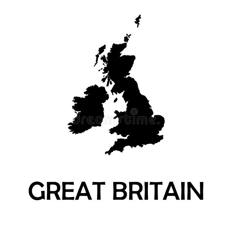 Förenade kungariket UK, Storbritannien svartöversikt, gräns royaltyfri illustrationer
