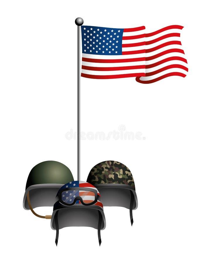 Förenat påstå flaggan med den militära hjälmen stock illustrationer