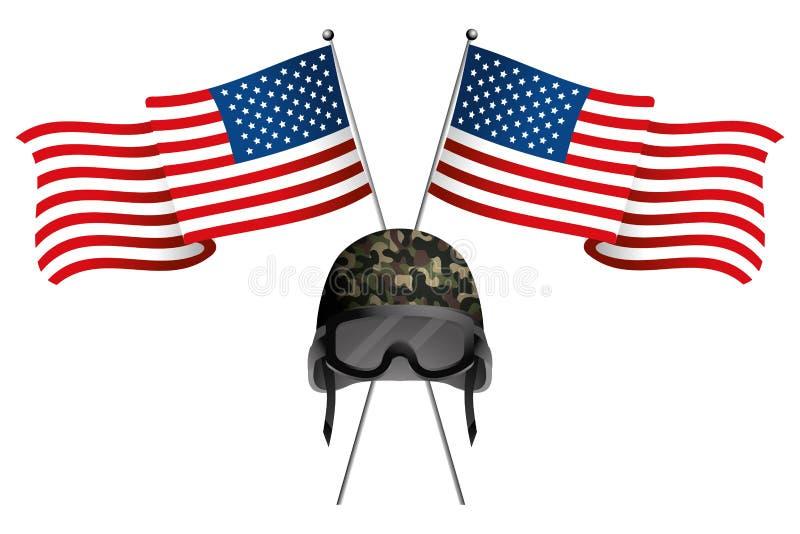Förenat påstå flaggan med den militära hjälmen royaltyfri illustrationer
