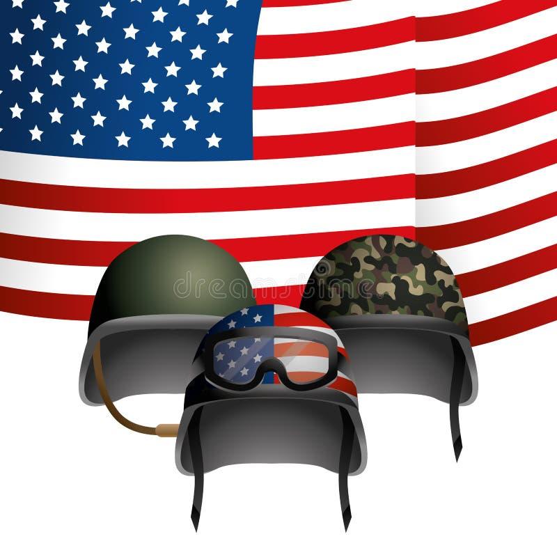 Förenat påstå flaggan med den militära hjälmen vektor illustrationer