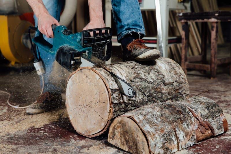 Föreningsmänniskan i seminariet sågar trädet med en elektrisk chainsaw snickare i processen av sawingen arkivbilder