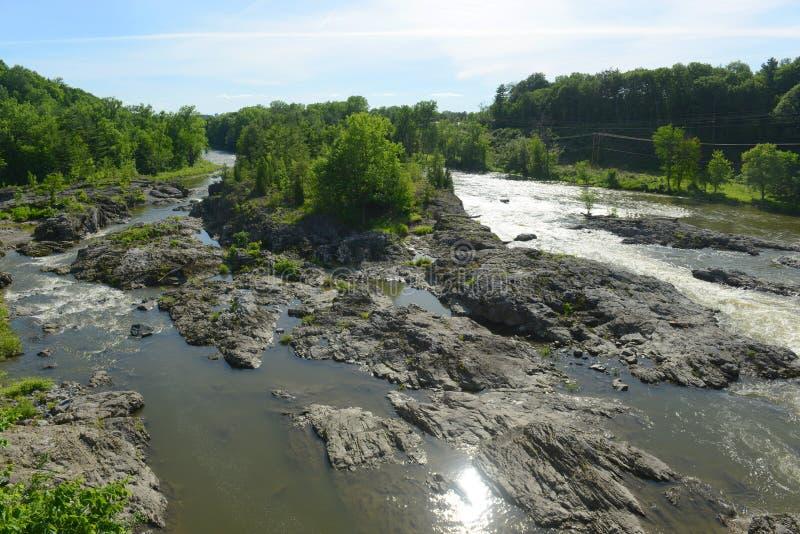 Föreningspunkt för Winooski flod, Essex, Vermont royaltyfria bilder