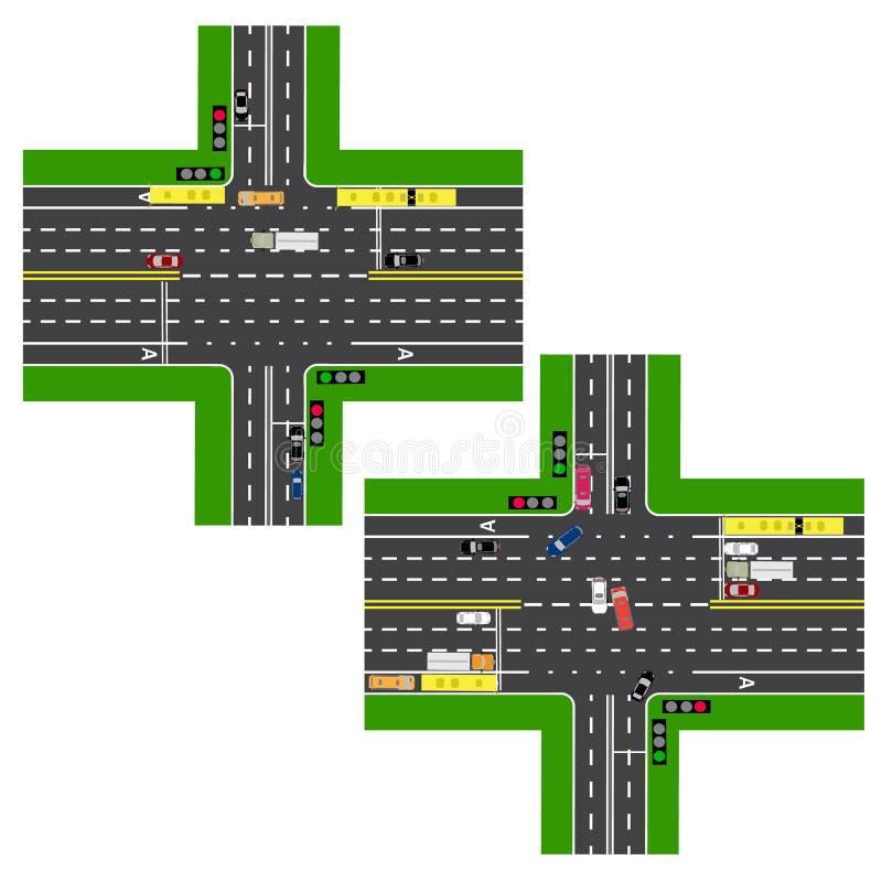 Föreningspunkthuvudväg vägar gator Rörelsen regleras av trafikljus Bilder av olika bilar, gränder för allmänhet vektor illustrationer