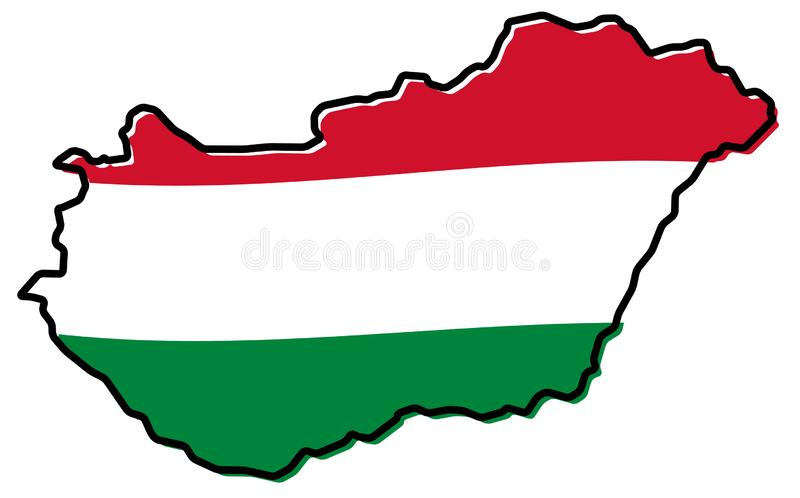 Förenklad översikt av Ungernöversikten, med den litet vridna flaggan under vektor illustrationer