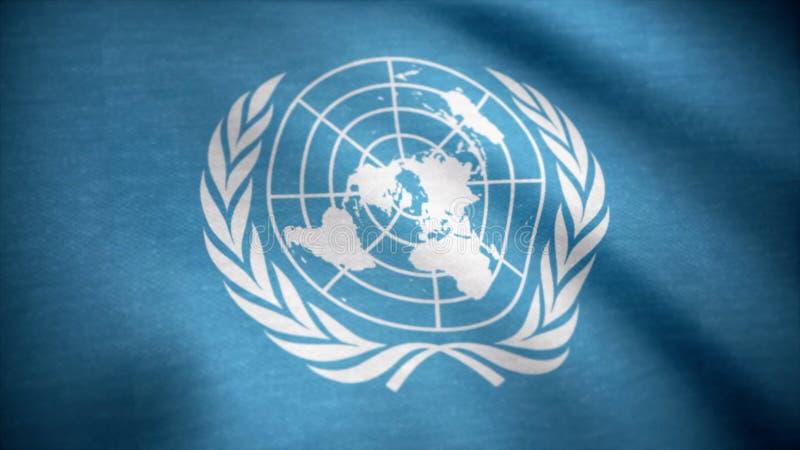 Förenta nationen sjunker Förenta Nationernaflaggan som vinkar i vinden Internationell flagga av FN arkivbilder