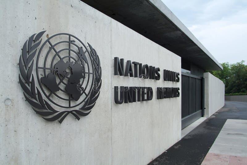 Förenta Nationerna i Genève: ingång arkivfoton