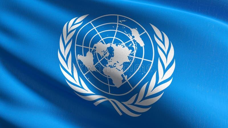 Förenta Nationerna sjunker att blåsa i den isolerade vinden Officiell patriotisk abstrakt design illustration för tolkning 3D av  royaltyfri illustrationer