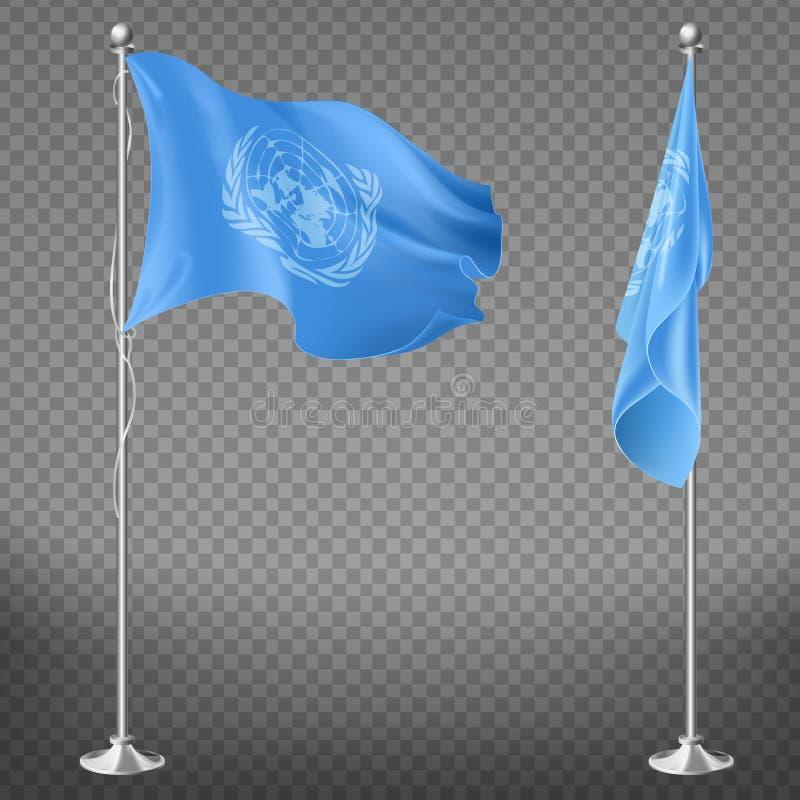 Förenta Nationernaorganisationsflagga på flaggstång royaltyfri illustrationer
