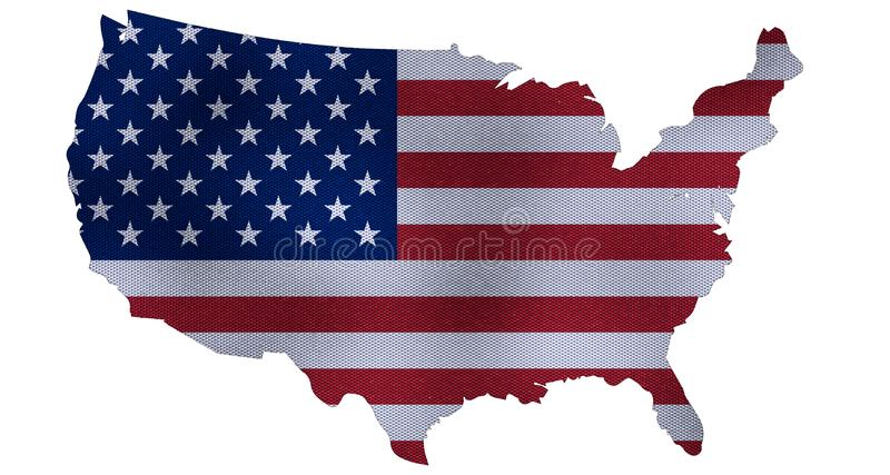 Förenta staternaöversikten 3d framför royaltyfri illustrationer