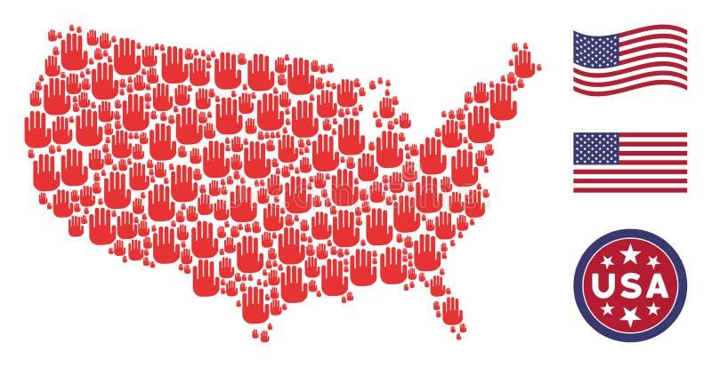 Förenta staternaöversiktscollage av stopphanden royaltyfri illustrationer