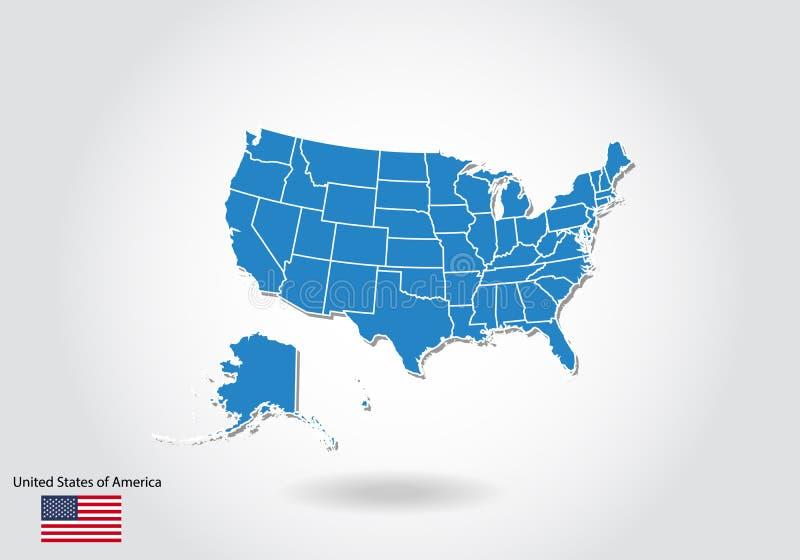 Förenta staternaöversiktsdesign med stil 3D Blå USA-översikt och nationsflagga Enkel vektoröversikt med konturen, form, översikt, stock illustrationer