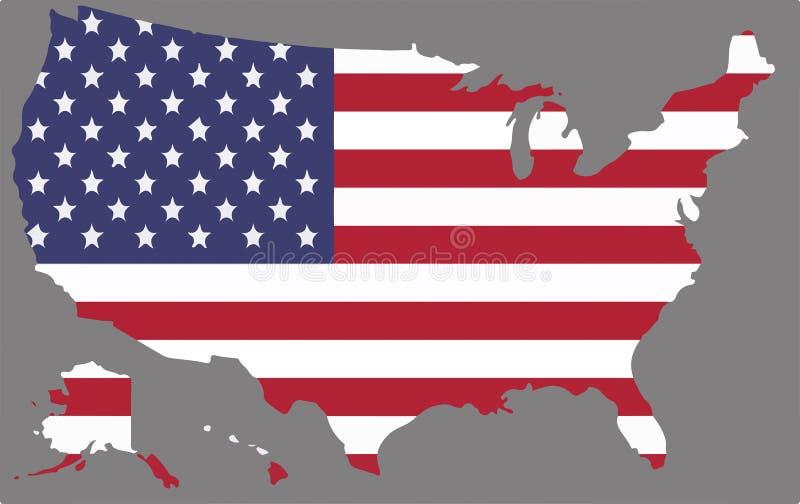 Förenta staternaöversiktsvektor med amerikanska flaggan vektor illustrationer