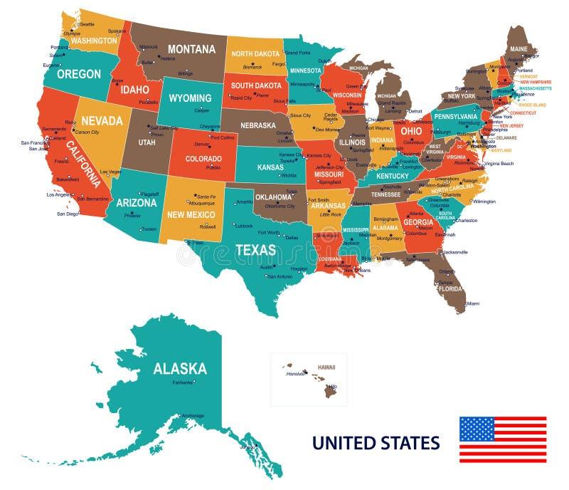 Förenta staterna - översikts- och flaggaillustration stock illustrationer
