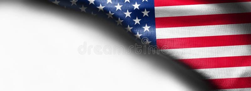 Förenta staterna av amerikanska flaggan gränsar isolerat på vit bakgrund royaltyfria bilder