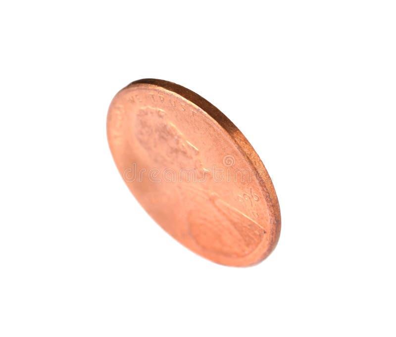 Förenta staterna ett centmynt på vit arkivfoto
