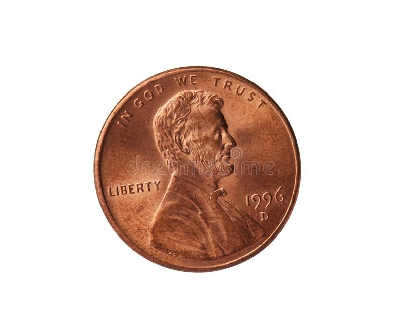 Förenta staterna ett centmynt på vit royaltyfria bilder