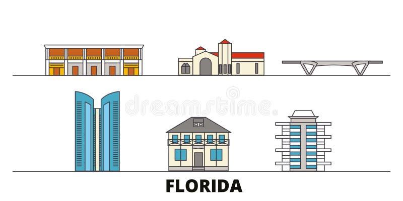 Förenta staterna för gränsmärkevektor för Fort Lauderdale plan illustration Förenta staterna Fort Lauderdalelinje stad med berömt royaltyfri illustrationer