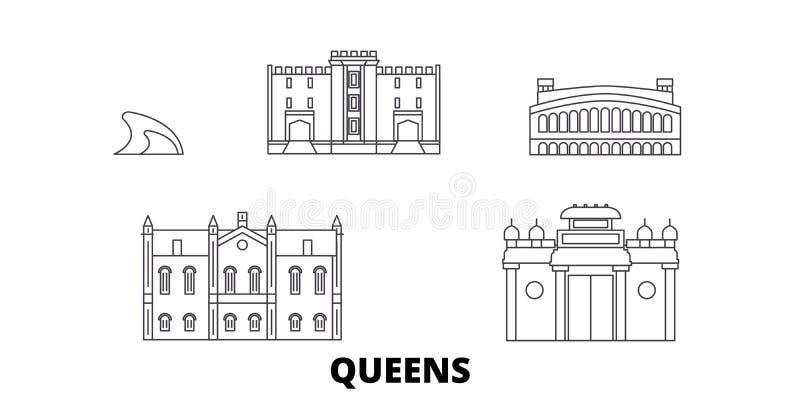 Förenta staterna New York gör till drottning linjen lopphorisontuppsättning Förenta staterna New York gör till drottning illustra stock illustrationer