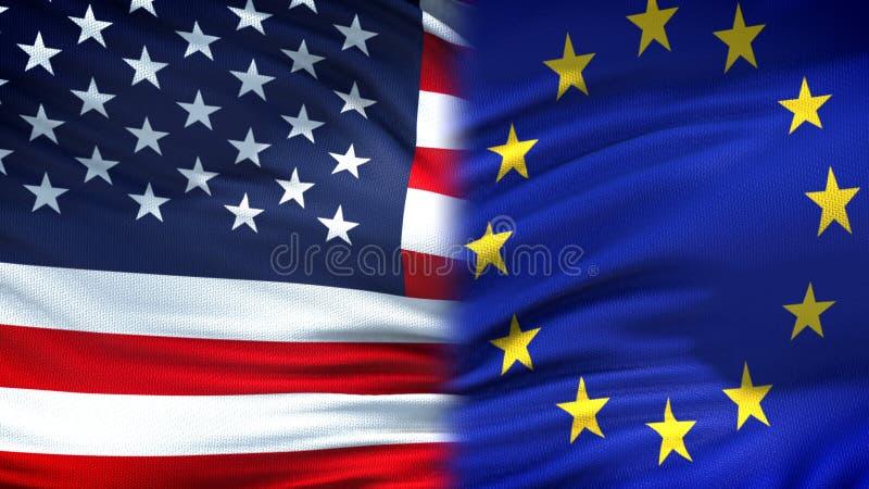 Förenta staterna och diplomatisk och ekonomisk förbindelse för EU-flaggabakgrund, finans royaltyfri foto
