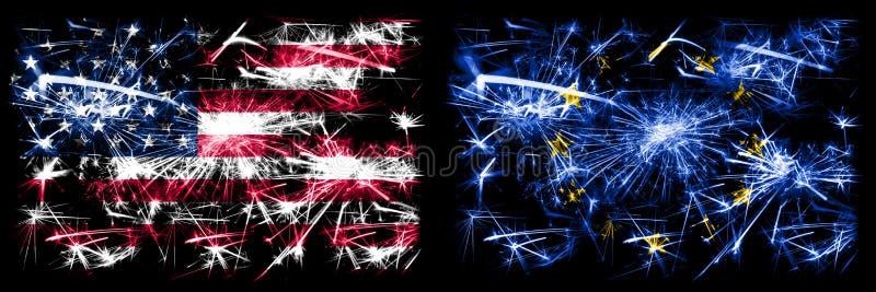 Förenta staterna, Förenta staterna och Europeiska unionen, EU:s nya år för att fira flaggor för mousserande fyrverkerier Kombinat royaltyfri foto