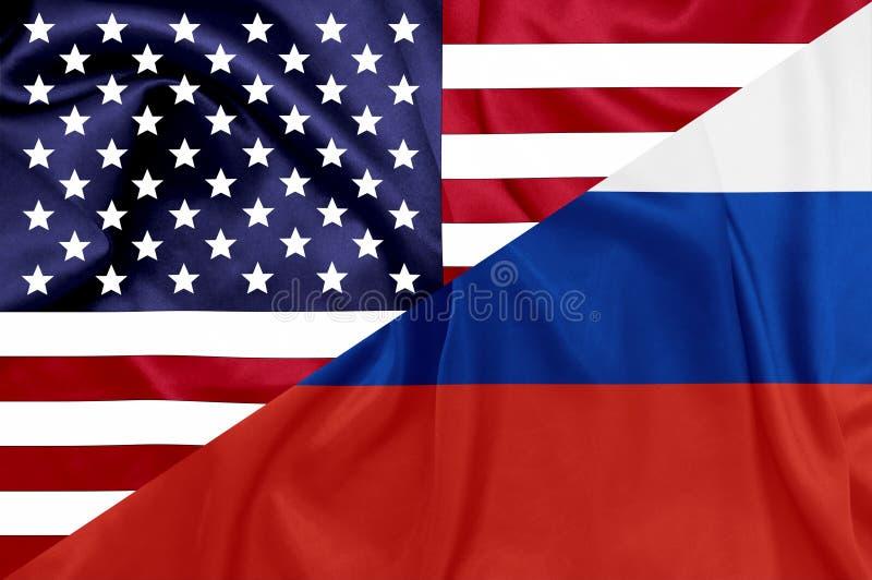 Förenta staterna och flaggor för rysk federation stock illustrationer