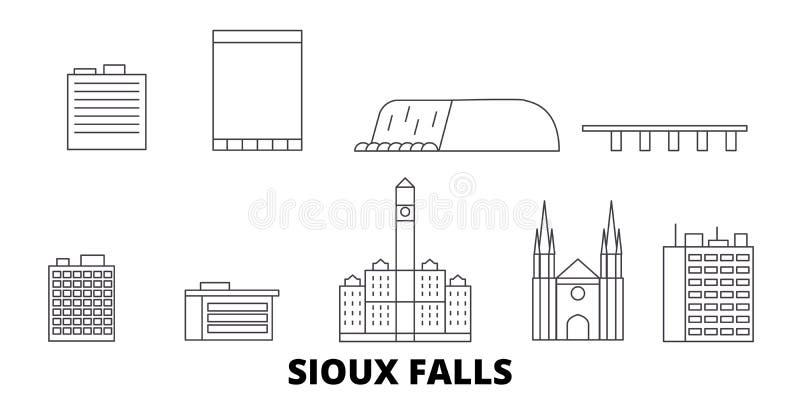 Förenta staterna Sioux Falls linje lopphorisontuppsättning Förenta staterna illustration för vektor för Sioux Falls översiktsstad stock illustrationer