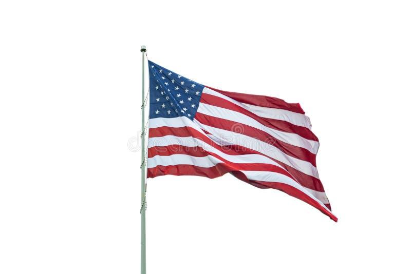 Förenta staterna sjunker på vinka för pol som isoleras på vit bakgrund arkivbild