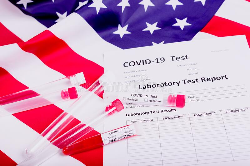 Förenta staterna, som hotas av den globala coronavirus covid-19-pandemin, utför tusentals tester på patienter arkivbilder