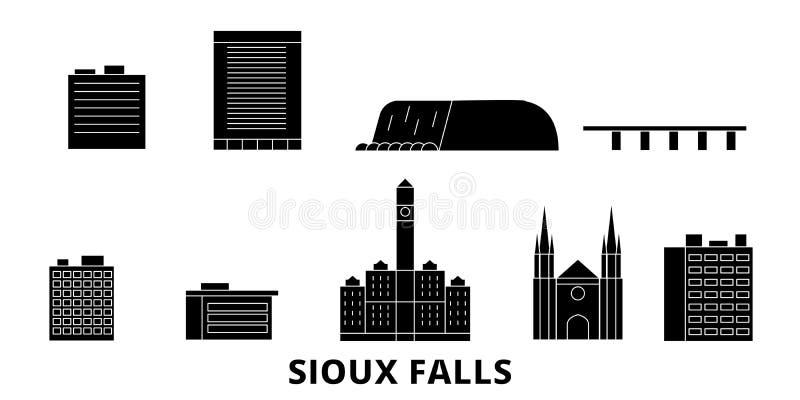 Förenta staterna uppsättning för Sioux Falls plan lopphorisont Förenta staterna illustration för vektor för Sioux Falls svartstad royaltyfri illustrationer