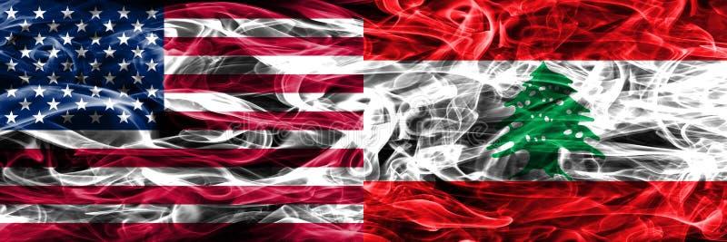 Förenta staterna vs Libanon rök sjunker begreppet förlade sidan - förbi - sidan vektor illustrationer
