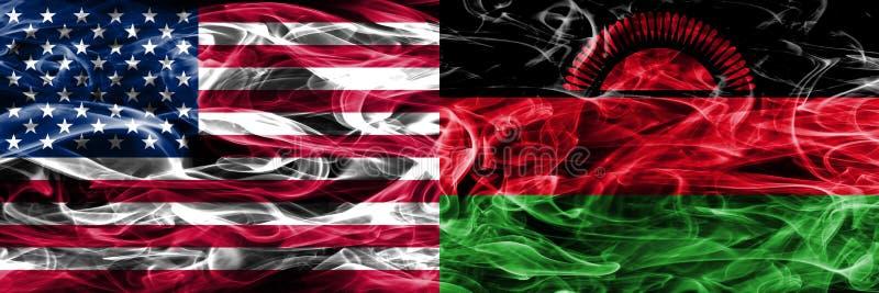 Förenta staterna vs Malawi rök sjunker begreppet förlade sidan - förbi - sidan royaltyfri illustrationer