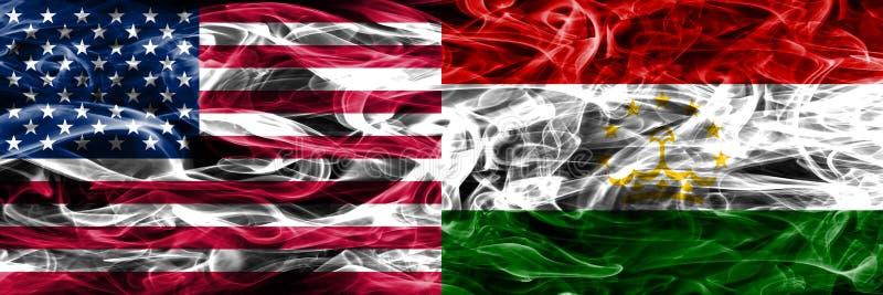 Förenta staterna vs Tadzjikistan rök sjunker begreppet förlade sidan vid s royaltyfri illustrationer