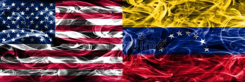 Förenta staterna vs Venezuela rök sjunker begreppet förlade sidan vid si royaltyfri illustrationer