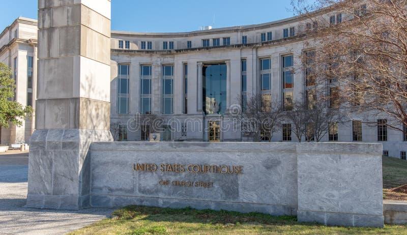Förenta staternadomstolsbyggnad i Montgomery Alabama arkivfoton