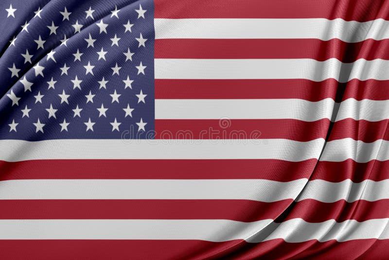 Förenta staternaflagga med en glansig siden- textur stock illustrationer