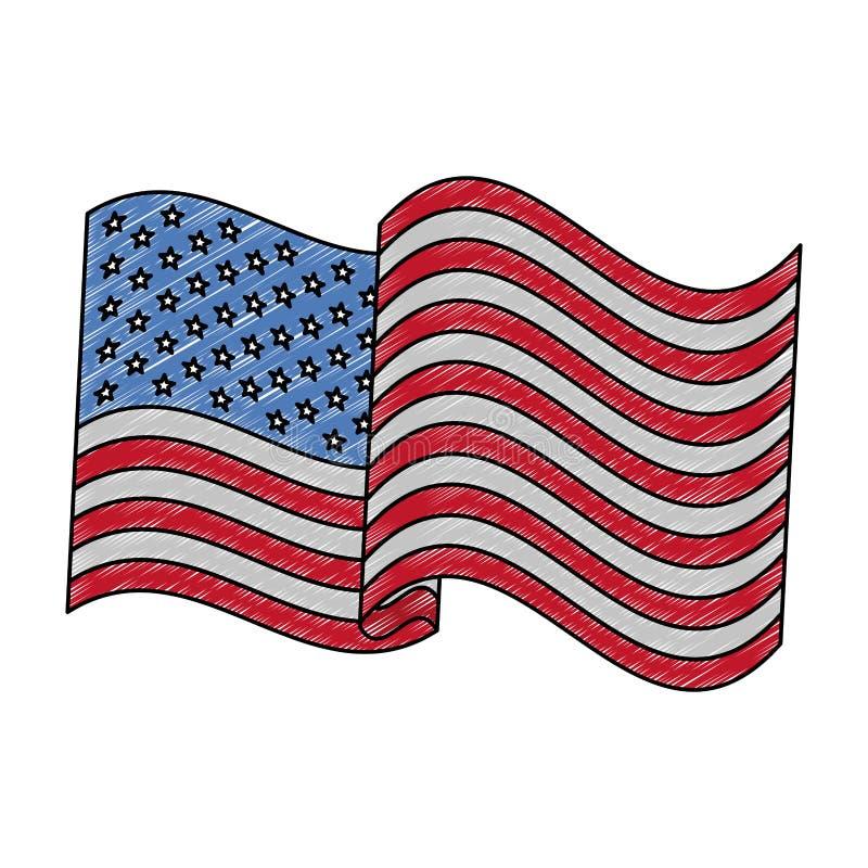Förenta staternaflaggan klottrar vektor illustrationer