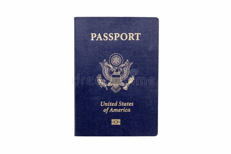 Förenta staternapass med Biometrics som isoleras på vit royaltyfria foton