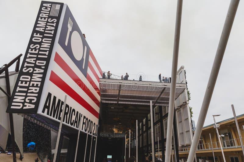 Förenta staternapaviljong på expon 2015 i Milan, Italien arkivfoton