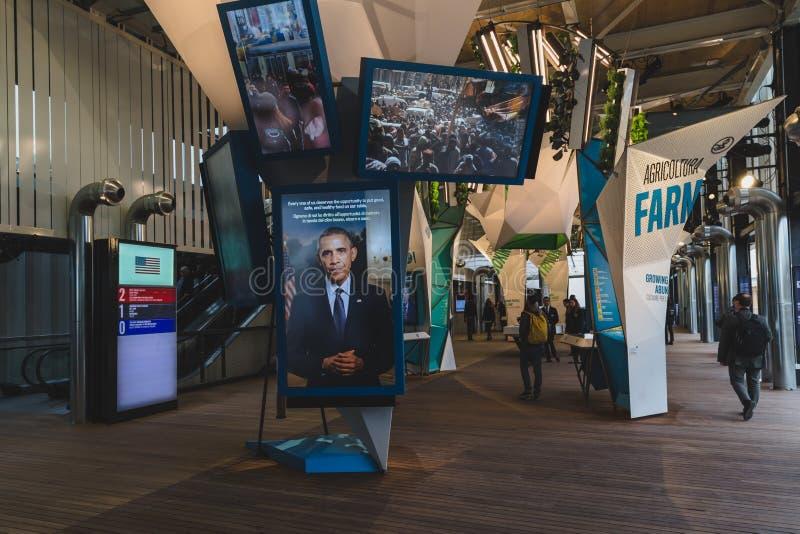 Förenta staternapaviljong på expon 2015 i Milan, Italien royaltyfri fotografi