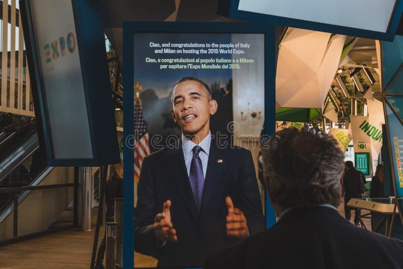 Förenta staternapaviljong på expon 2015 i Milan, Italien arkivbild