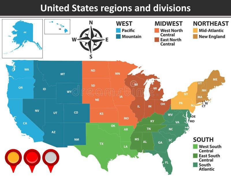 Förenta staternaregioner och uppdelningar vektor illustrationer
