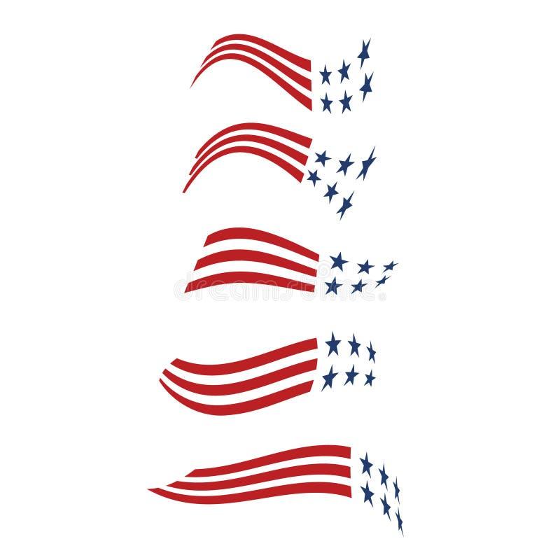 Förenta staternastjärna- och bandlogoer stock illustrationer