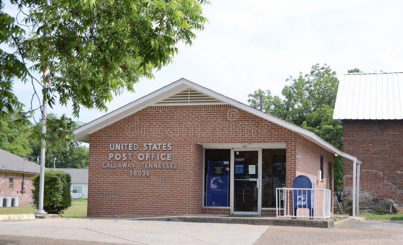 Förenta staternastolpe - kontor, Gallaway, TN royaltyfri bild