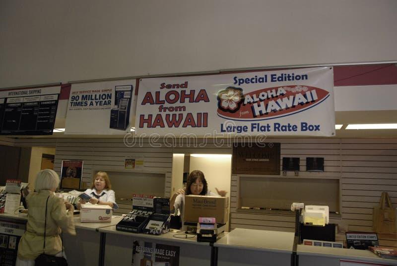 FÖRENTA STATERNASTOLPE - KONTOR _HAWAII royaltyfria foton